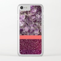Pink Striped Purple Quartz and Glitter Clear iPhone Case by The Backwater Co