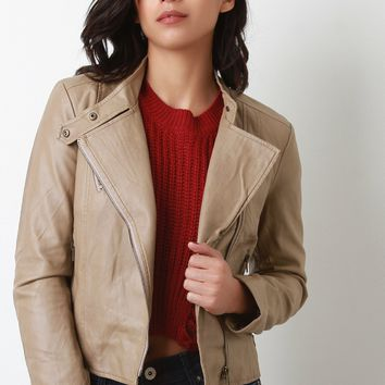 Vegan Leather Jacket Zip Up Jacket Diagonal Zip Up Front Hood Jacket By Diagonal | Diagonal Zip Up Vegan Leather Jacket