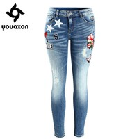 2088 Youaxon Embroidery Flower Patch Cropped Jeans Women`s Brand New Low Waist Stretch Skinny Pants For Women Denim Jean Capris