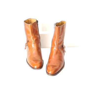 size 8.5 retro 70s brown leather southwestern hipster ankle boots