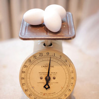 Yellow, Food, Eggs, Vintage, Scale, Photo, Art - Weighing In - Photography Giclee Print / Kitchen, Wall Art
