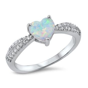 Sterling Silver 925 PRETTY HEART DESIGN WHITE LAB OPAL PROMISE RING SIZES 5-10
