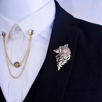 New Fashion Retro Metal Wolf Brooch Pin Jewelry For Men GD