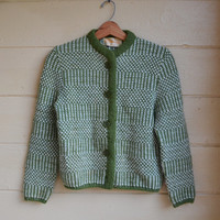 Vintage Cardigan Sweater Sweater Button Up Sweater Knit Green Granny Sweater Women's Size Small - Medium