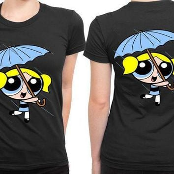 ICIK7H3 The Powerpuff Girls Blue Umbrella 2 Sided Womens T Shirt