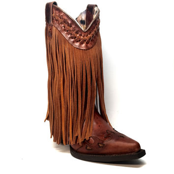 Dingo Suede Fringe & Braided Leather Cowgirl Boot