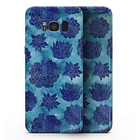 Blue Floral Succulents - Samsung Galaxy S8 Full-Body Skin Kit
