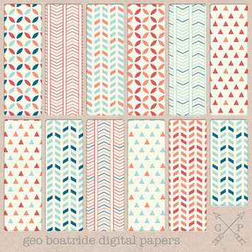 Coral and Blue Geometric Digital papers nautical. geometric patterns, triangles, chevron, for scrapbooking, web and blog backgrounds etc