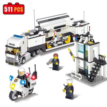 KAZI Police Station Truck Building Blocks Compatible Legoe City DIY Construction Bricks Toys Birthday Gifts For Kids Children