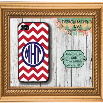 Personalized iPhone Case, Preppy Red Chevron Navy Monogram iPhone Case, Fits iPhone 4, iPhone 4s & iPhone 5, Phone Cover, Phone Case