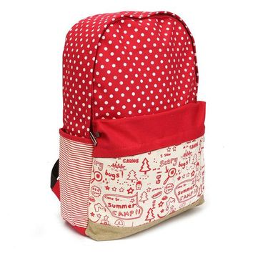 Women Canvas Hiking Backpack Cute Casual Shoulder School Bag