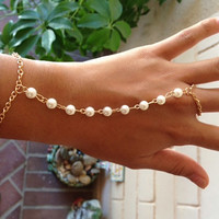 Gold Pearl Ring Bracelet, Ring Chain