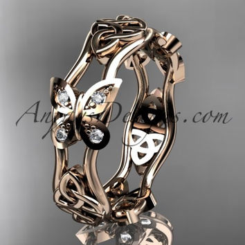 14kt rose gold diamond celtic trinity knot wedding band, butterfly engagement ring CT7153BA