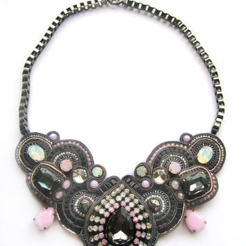 ROCK'n'ROLL QUEEN soutache statement necklace in gunmetal with rose water opal and white opal Swarovski crystals