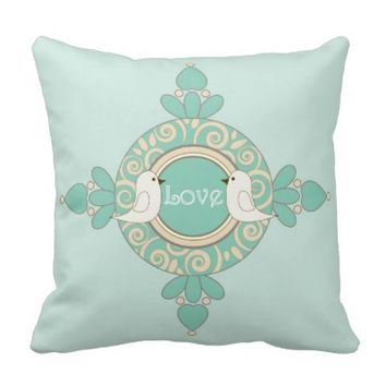 Retro-Style Cute Birds Design Girly Throw Pillows: Love & Wish: Wedding Gift