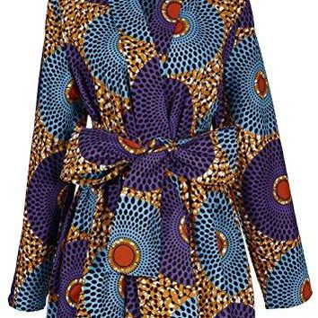 Women African Traditional Batik Print Long Sleeve Shirt Dashiki Casual Cotton Shirt