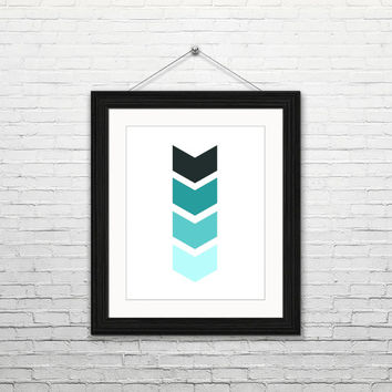 Mint ombre chevron, 8x10 instant download, printable art, digital print, home decor, housewarming gift, black white mint, modern, minimalist