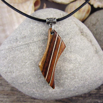 Wood Lightning Bolt Necklace, Abstract Mens Pendant, Wood Necklace On Leather Cord, Lightning Bolt Jewelry For Men