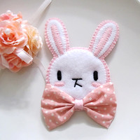 Pink Rabbit Bunny with Ribbon Bow Brooch Pin for Summer. Cute Kawaii Lolita Bunny. Decorative Pin.