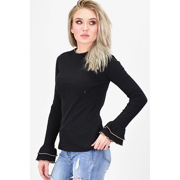 Mock Neck w/ Contrast Ruffle Ribbed L/S {Black}