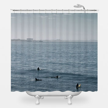 Early Morning Surfers Shower Curtain