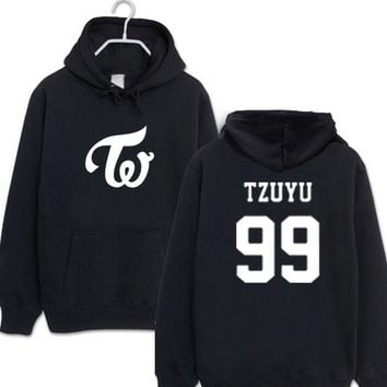 Kpop twice member name printing pullover fleece hoodies  men women winter autumn black white loose sweatshirt