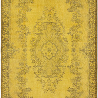 "4'0"" x 6'11"" Yellow Gold Turkish Overdyed Rug"