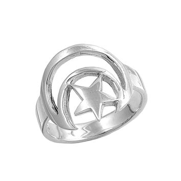 925 Sterling Silver Moon & Star Wicca 16MM Ring