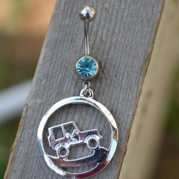 Silver Jeep Belly Ring