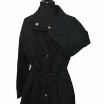 ELLEN Tracy BLACK Womens Ladies Size 8 Spring Summer Cotton Jacket Drawstring