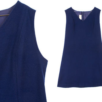 Navy Blue Wool Dress 60s Mod Vintage 1960s White Stag Sleeveless Winter