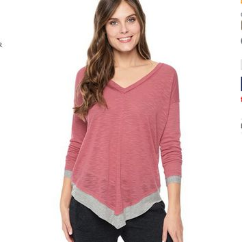 Splendid Melange Poncho Top