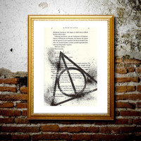 Deathly Hallows - Harry Potter book page print