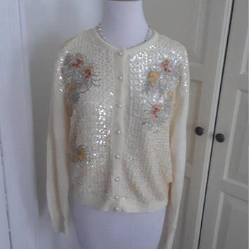 "50s Sequinned, Embroidered Cardigan, Sweater, Cream, Pearl Buttons, Orlon, Perfection!, Size XL, 46"" Bust"