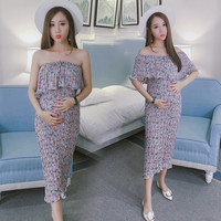 802# 3 Way to Wear Summer Maternity Dress Pleated Floral Printed Chiffon Clothes for Pregnant  Charming Pregnancy Clothing