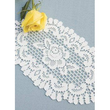 Heritage Lace Rose Set of 2 Off White Oval Doilies  12 x 16