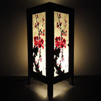 Asian Oriental Japanese Sakura Cherry Blossom Tree Branch Art Bedside Table Lamp