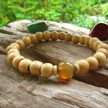 Indian Agate & Wooden Beaded Bracelet / Stretchy Boho Unisex Bracelet / Mens Ethnic Gemstone Bracelet / Tribal Surfer Hippie Bracelet