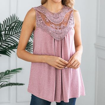 Fashion New Lace Vest Top T-Shirt Women Pink