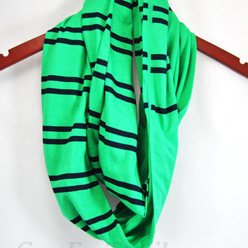 Very soft emerald green with thin navy blue stripe jersey knit infinity scarf