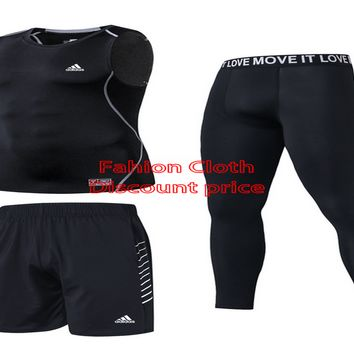 Adidas Sports tights New Style Clothing Three-Piece Suit 8063 M-3XL Black