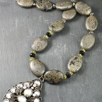 Bold Pyrite Necklace and Antiqued Faceted by BellaSweetJewelry