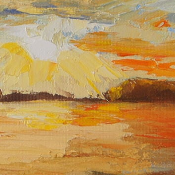 Sunrise Landscape painting, Namibia Impressions 18 - Kunene Sunrise, palette knife oil painting, 12x12 inch, Charity Fundraising for Rhinos