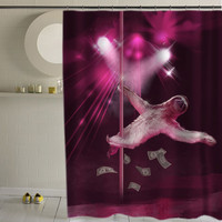 Stripper Sloth special custom shower curtains that will make your bathroom adorable.