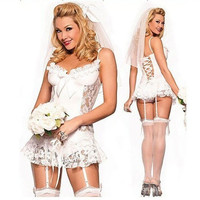 Female White Lace Bride Wedding Dress Lingerie Suits (Color: White) = 1929350020