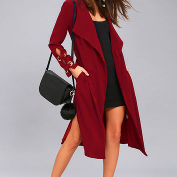 Good Reputation Wine Red Trench Coat