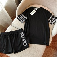 """Kenzo"" Summer Women Casual Fashion Letter Short Sleeve Shorts Set Two-Piece Sportswear"