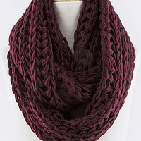 Snow Drift Knit Infinity Scarf - Burgundy