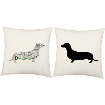 Typography Dachshund Throw Pillows