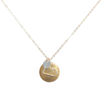 Monogram Necklace + Heart Outline + Brushed Disc